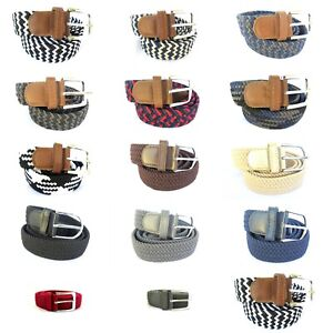 c6e9b4f27f Details about Men Women Unisex Elastic Fabric Braided Expandable Stretchy  Woven Cotton Belt