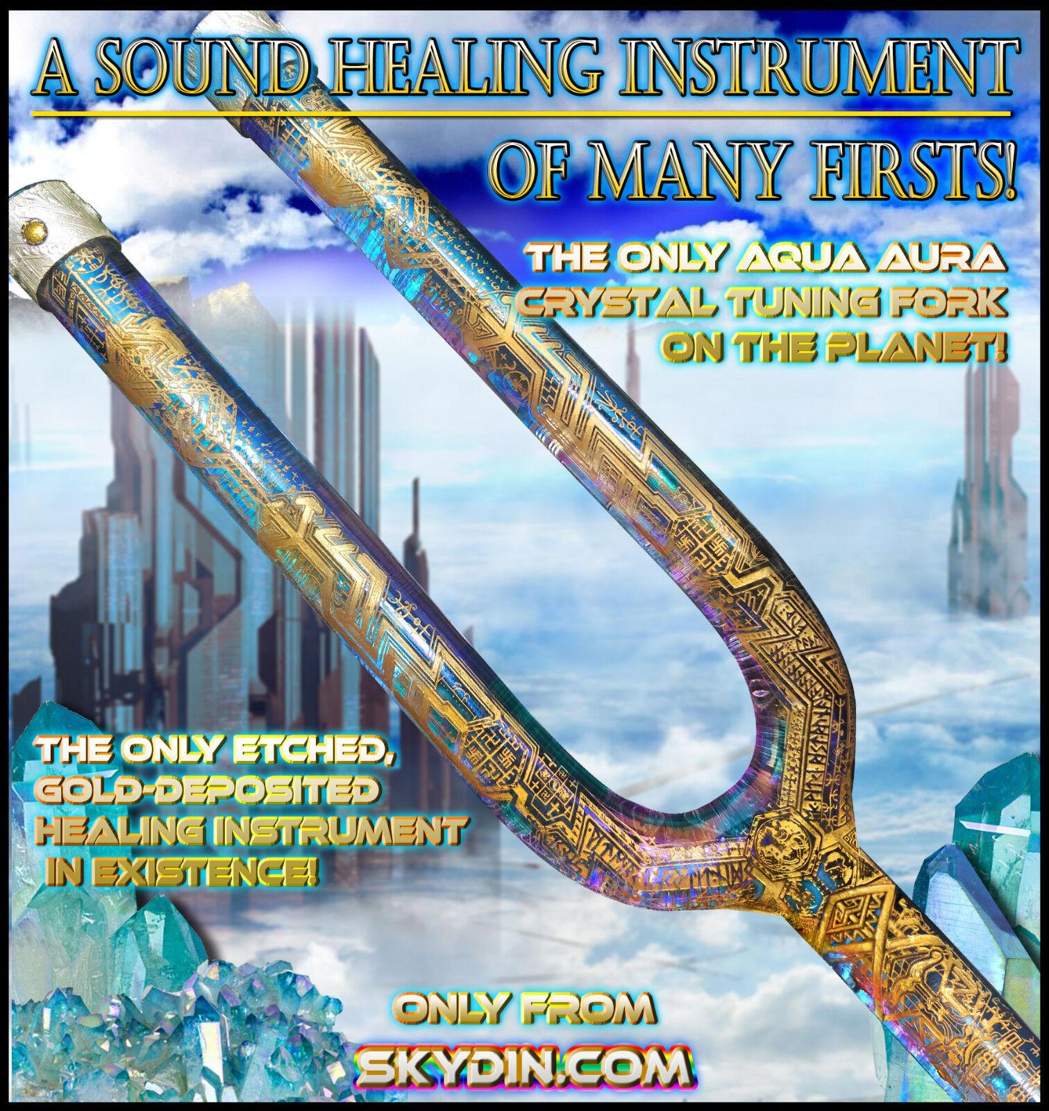 Aurora Borealis  Solid Aqua Aura Quartz Crystal Tuning Fork Healing Etched Gold