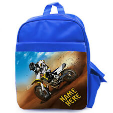 Personalised Bike Backpack School Bag Boys Dirt Motocross Rucksack Sports SH063