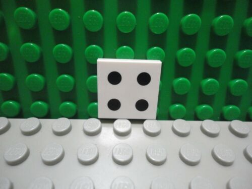 Lego 1 White 2x2 tile printed with 4 black dot dice NEW