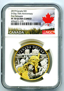 2019-CANADA-1OZ-SILVER-NGC-PF70-UCAM-GILT-75TH-D-DAY-ANNIVERSARY-FIRST-RELEASES