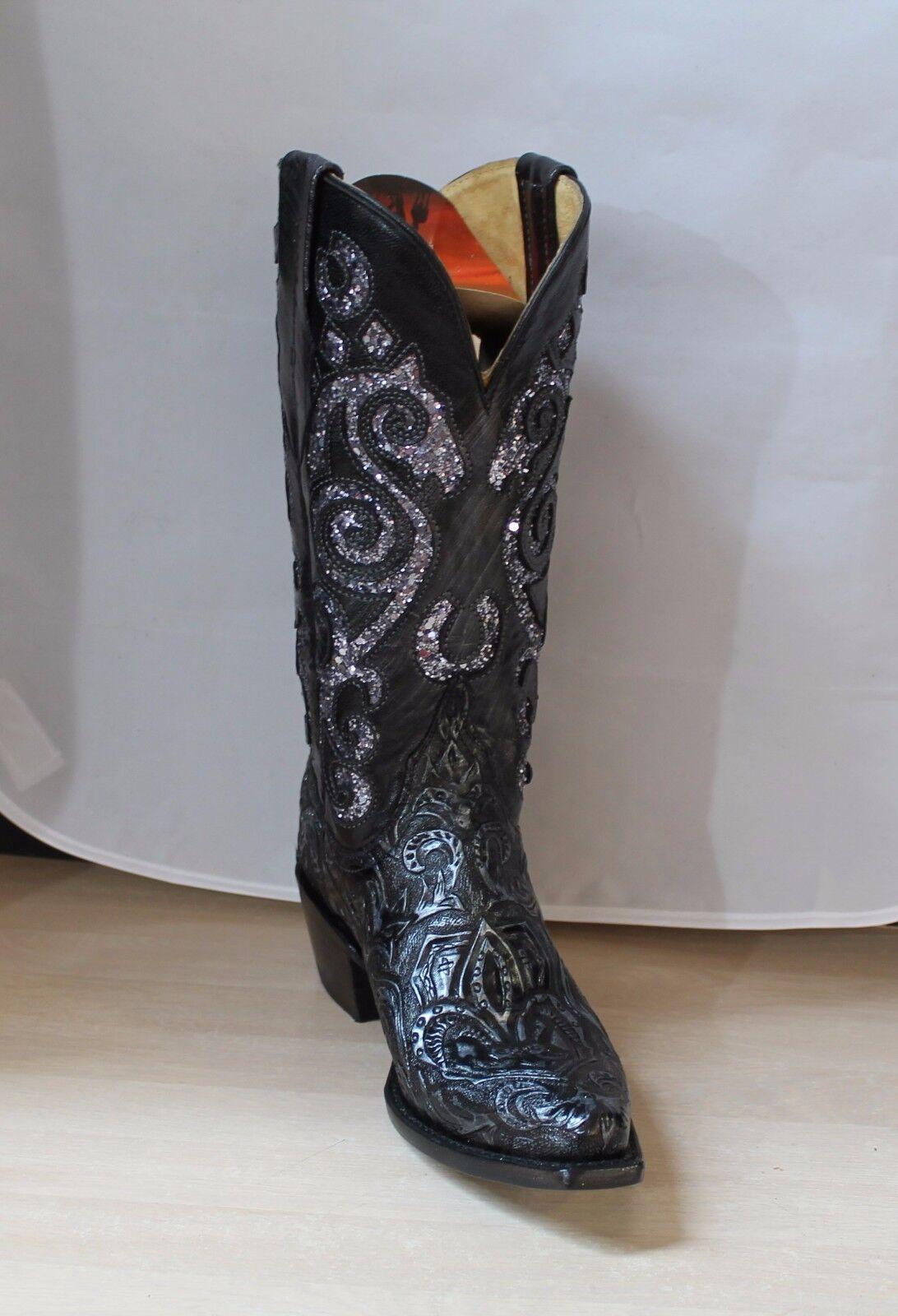 Cowgirl botas Ferrini Ferrini Ferrini Damas En Relieve, Negro y Plata botas, artículo  81861040B  Ahorre 35% - 70% de descuento