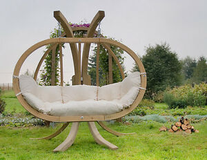 image is loading wooden duble swing pod swinging garden sofa local - Garden Furniture Pod