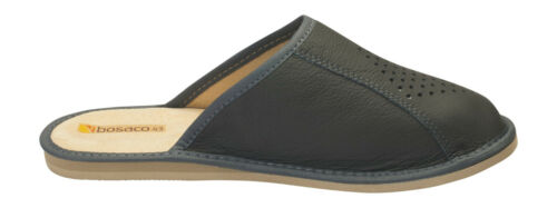 New mens comfort house slippers leather slip on shoes UK Size 6 7 8 9 10 11