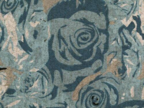 Vintage Look 145cm Strick mit Elasthan blau-grau Rosen