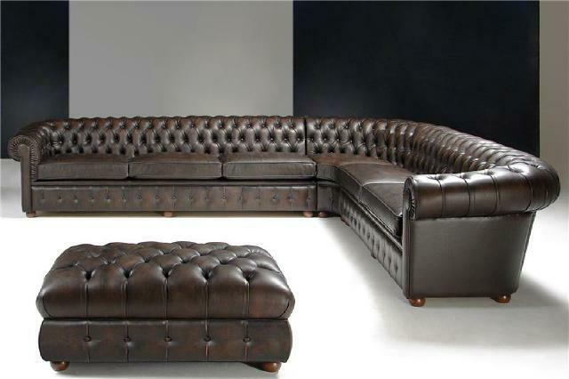 Klassische Ecksofa Eckcouch Couch Sofa Polster Leder Sitz