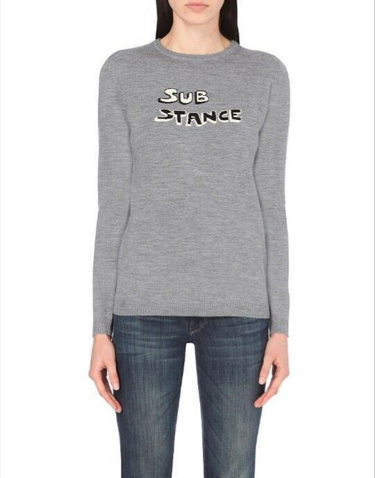 Bella Freud Sub Stance Grey Wool Jumper Sweater Large L 12, 14, 16 Substance