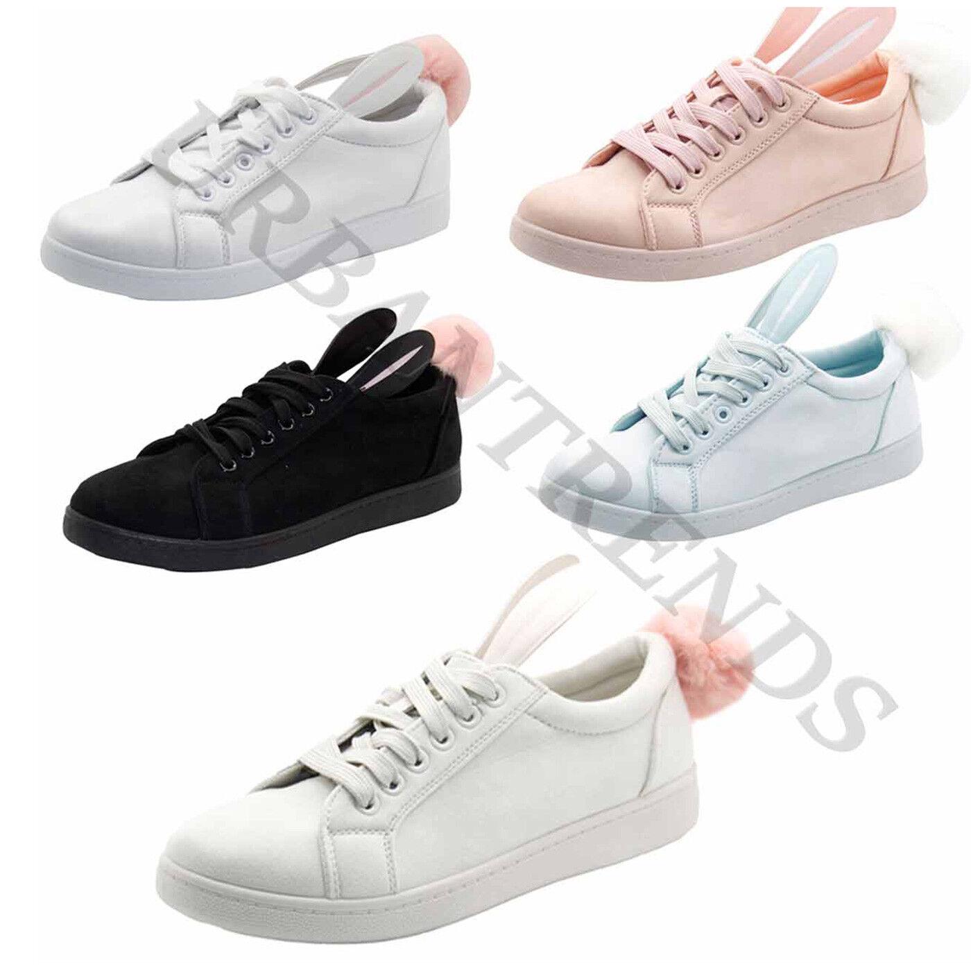 New Ladies Bunny Rabbit Ear Sneaker Pom Pom Fluffy Fur Sneaker Ear Women Flat Trainers Shoes 21a2dc