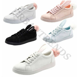 New Ladies Bunny Rabbit Ear Pom Pom Fluffy Fur Sneaker Women Flat Trainers Shoes