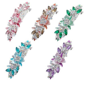 Flower-Barrette-Hair-Clips-Hairpin-Hair-Pin-Rhinestone-Crystal-Metal-For-Girl