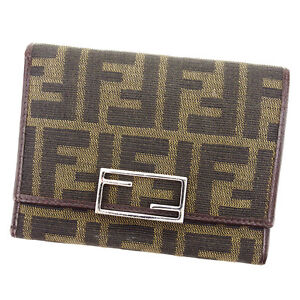 e4493fc6 Details about Fendi Wallet Purse Trifold Zucca Green Black Woman unisex  Authentic Used A1630