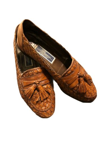 BRAGANO MENS LOAFERS SIZE 8.5 W BROWN WOVEN LEATHE