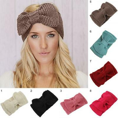 Ladies Big Bow Chunky Knitted Headband Winter Knot Crochet Hair Band Warm Turban