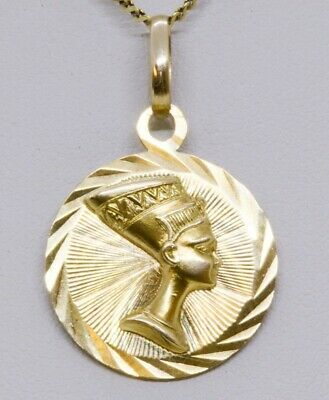 18K SOLID Yellow Gold Mask of Egyptian Queen Nefertiti Diamond CutsPendant//Charm