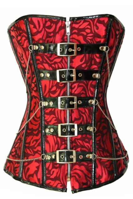 Fashion Red Zipper Lace Up Steel Bone Festive Red Jacquard Waist Training Corset