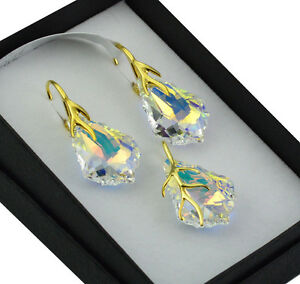 3791831972b52 Details about Gold Plated Earrings/Set made with Swarovski Crystals 22mm  BAROQUE - CRYSTAL AB