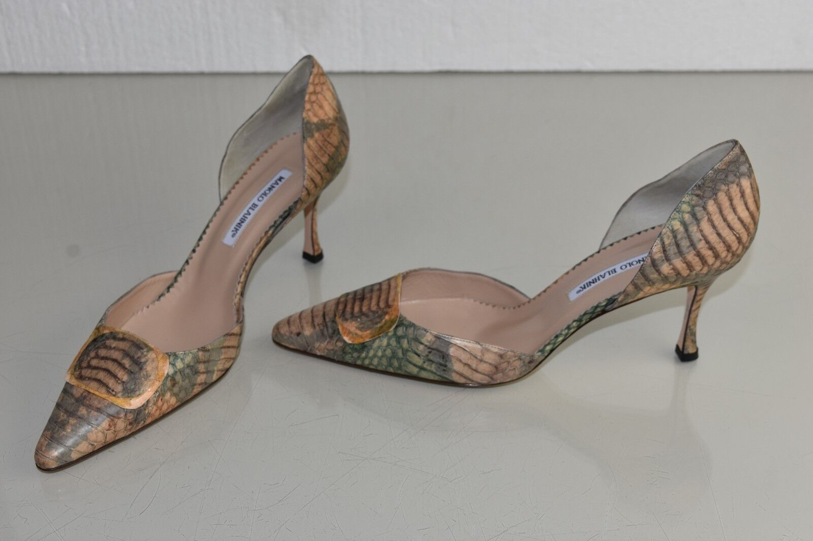 1290 NEW Manolo Blahnik EXOTIC EXOTIC EXOTIC PYTHON Pumps Dorsay braun Grün Taupe schuhe 41 467be9