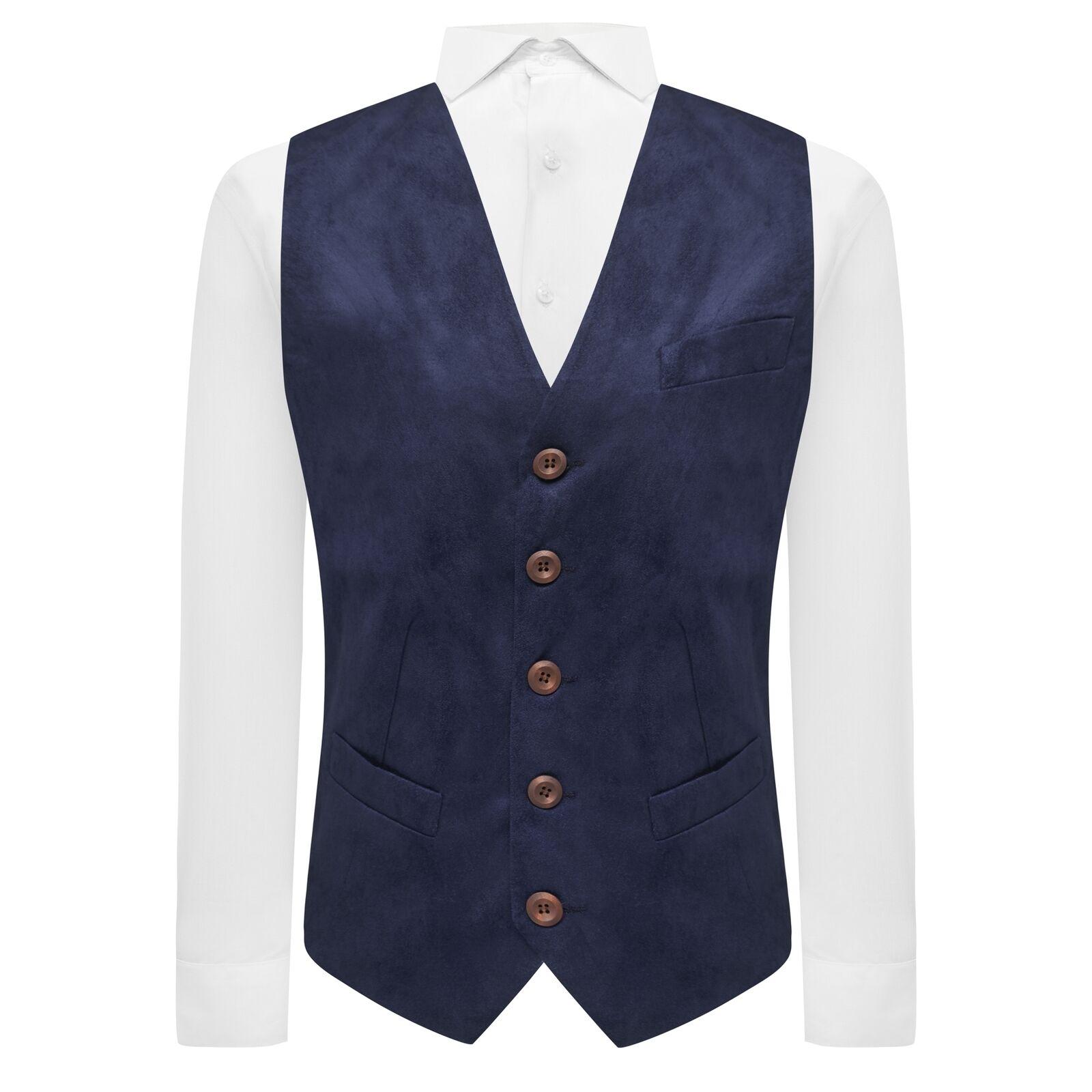 Luxury Navy Blue Suede Waistcoat, Moleskin