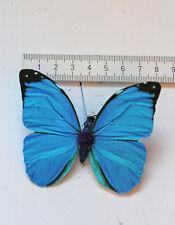 feiner Schmetterling Morpho Falter blau formbare Flügel auf Clip 7,5x6cm