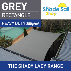 Rectangle GREY 1.2m X 2.5m Shade Sail Sun Heavy Duty 280GSM GREY 1.2m x 2.5m