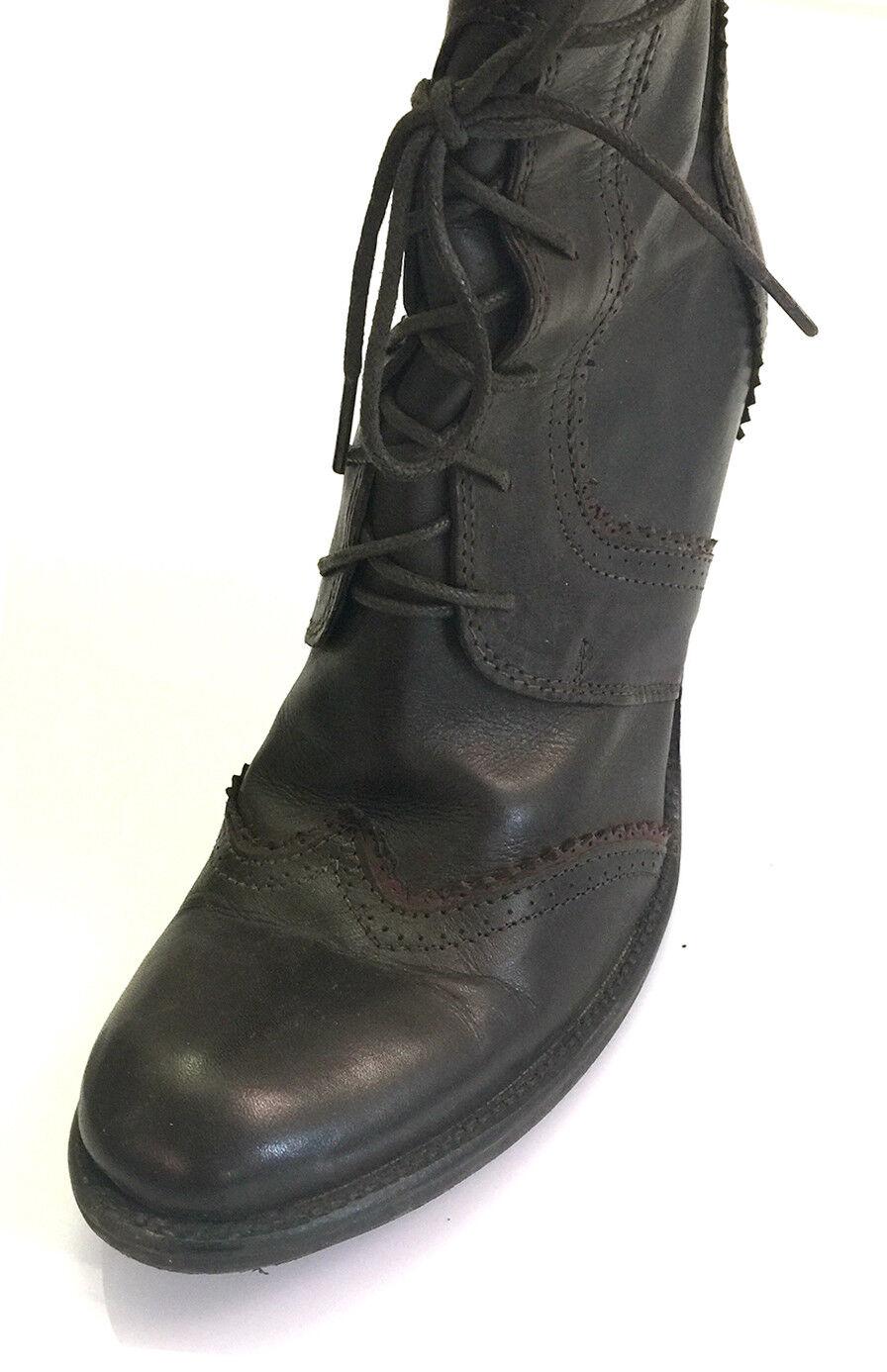 Sehr schöne Leder-Stiefel, handgenäht, dunkelbraun, Gr. 41