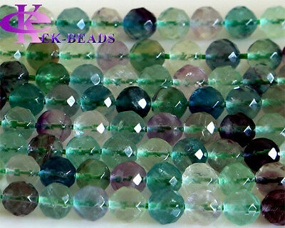 AA Grade Rainbow Fluorite Faceted Round Jewellery Loose Beads 4-14mm Beads