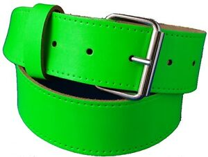 Lime Green Real leather Hi Viz Belt With Free Buckle small Medium Large xl xxl