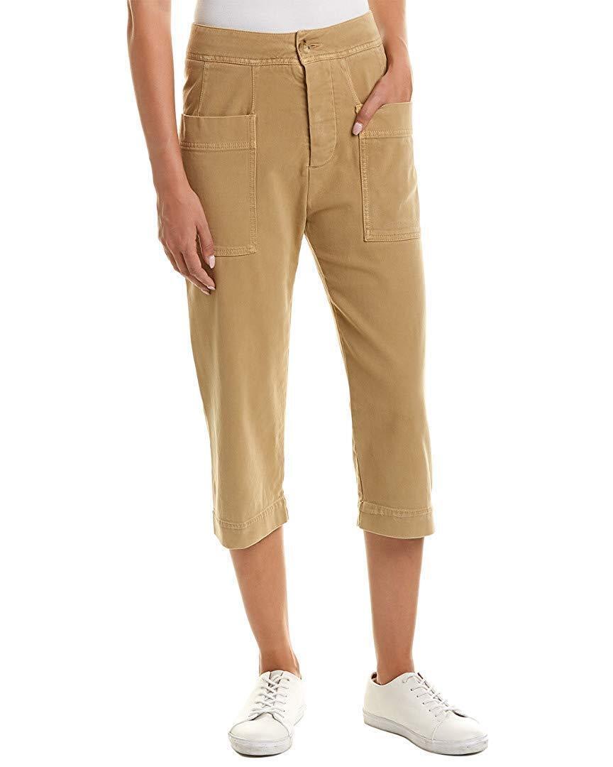NEW JAMES PERSE Tobacco Beige Khaki Cropped Capri Stretch Cotton Twill Pants 25
