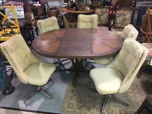 Outstanding Details About Brody Chicago Mid Century Modern Table W 5 Chairs Leaf 60S 70S Pedestal Swivel Gmtry Best Dining Table And Chair Ideas Images Gmtryco