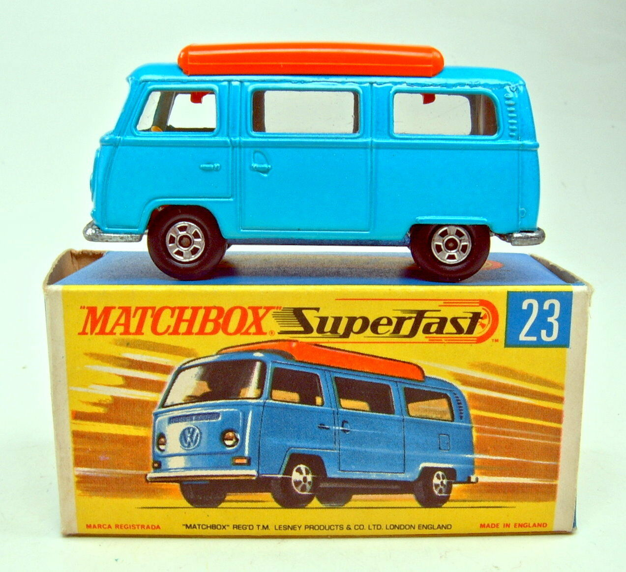 MATCHBOX SF Nº 23 a VW Camper Bleu Orange Création Top Dans Box