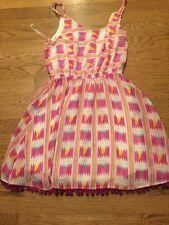 Ocean Drive Pink Print Dress With Pom Pom Trim Summer Fun Size M
