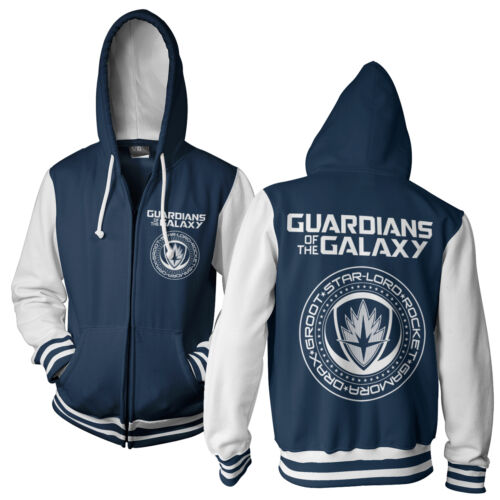 Officially Licensed Guardians of The Galaxy Varsity Zipped Hoodie S-XXL Sizes