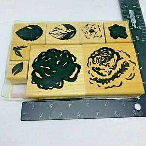 JRL Design Rubber Stamp Rose Garden Flower and Leaves Set of 8 Wood Mount