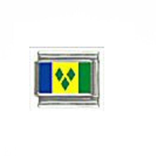 fits 9mm Charm bracelets St Vincent /& The Grenadines flag Italian charm
