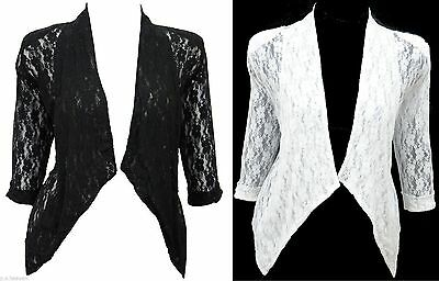 Womens New White Dressy Bolero Size 16-26 Shrug Top Lace Jacket Ladies *LICK*