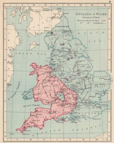 ENGLISH CIVIL WAR NOV 1644.King red blue Parliament .Battles//dates 1907 map