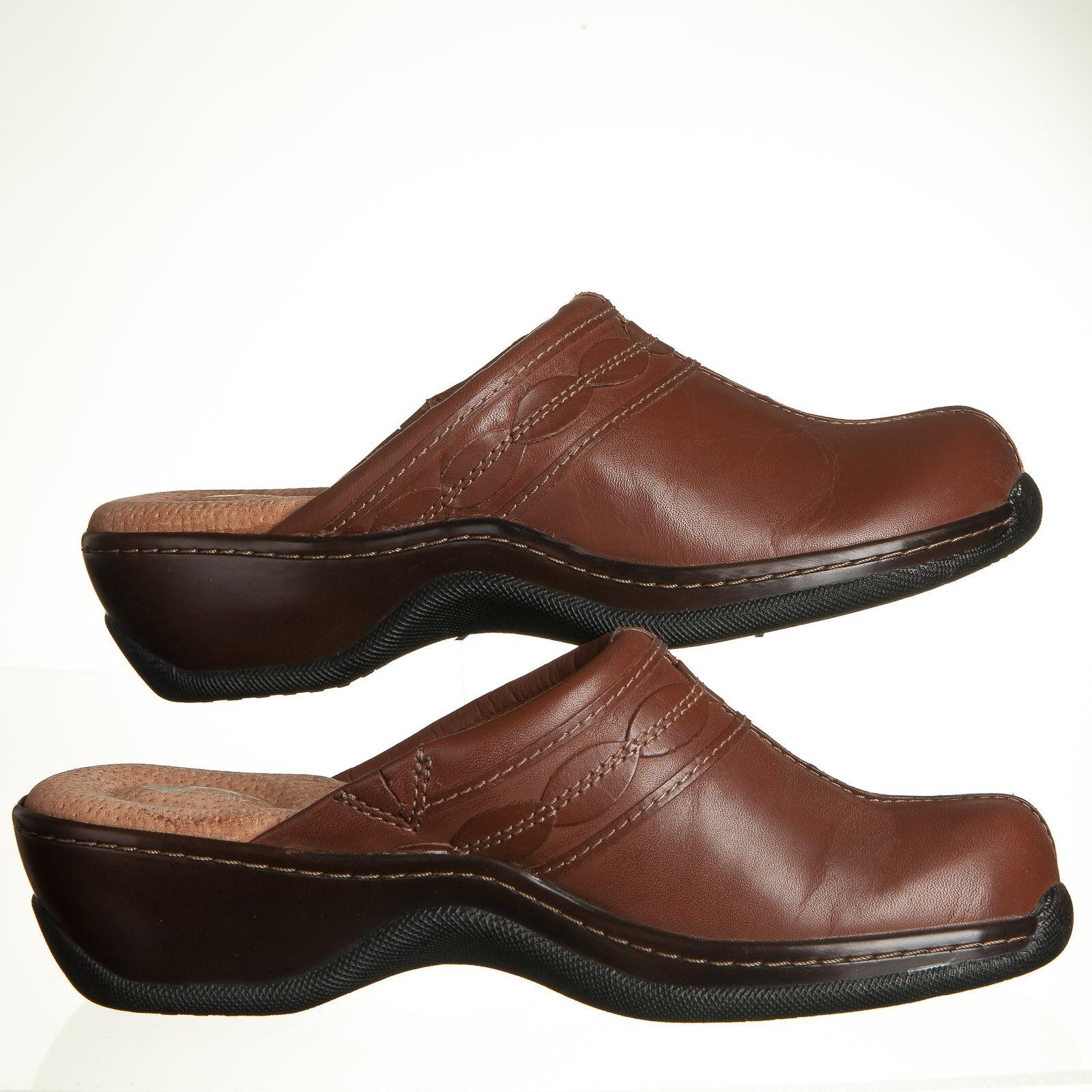 SoftWalk Abby Brown Cognac Pelle Clogs - Donna Size 6M