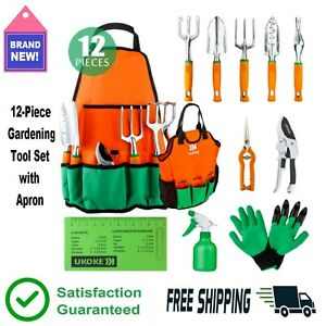 12 Pc. Aluminum Garden Tools Set Gardening Apron Storage Pocket Soft Grip 🌼🌻👍