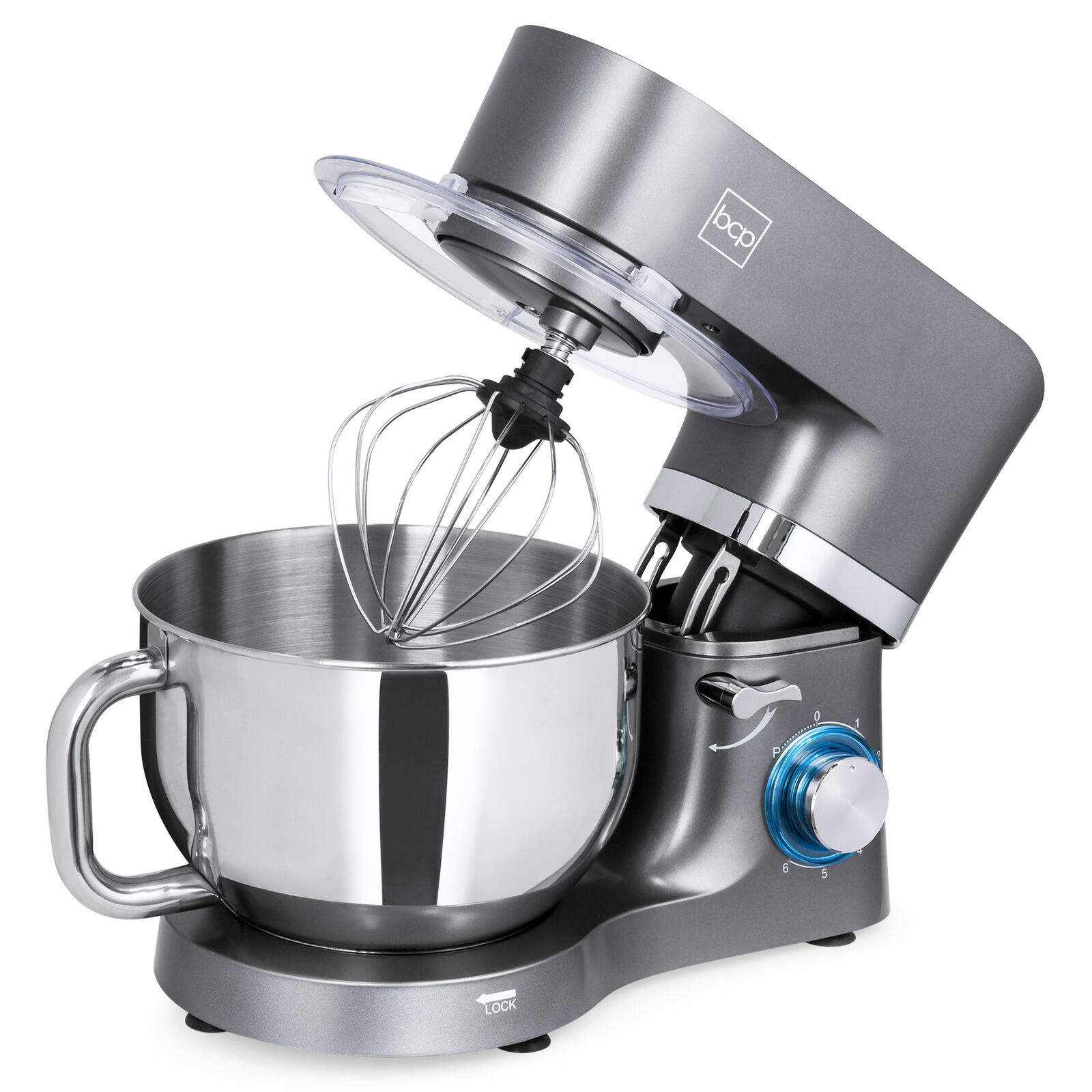 BCP 660W 6-Speed 6.3qt Stainless Steel Kitchen Stand Mixer w  3 Attachments