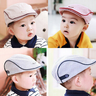 Cute Baby Kids Casquette Infant Flat Peaked Sun Hat Toddler Plaid Beret Boy Cap