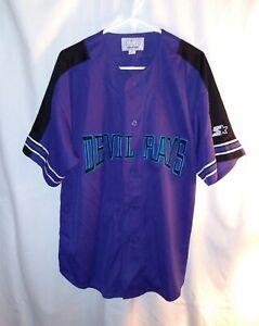 Tampa-Bay-Devil-Rays-Starter-Mens-MLB-Baseball-Jersey-Size-L-Purple-Vintage-90s