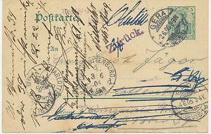 DT-REICH-GERA-REUSS-1-K2-5-Pf-Germania-Deutsches-Reich-GA-Postkarte-1905