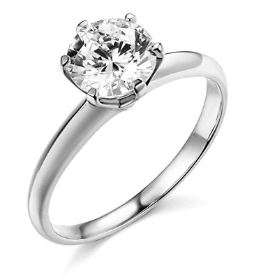 1.50 Ct Round Cut Solitaire Engagement Wedding Promise Ring Solid 14K White Gold