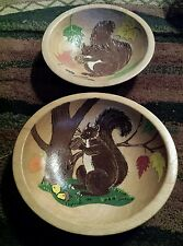 VTG Set Munising Wooden 9 Inch Oval Salad Bowl Hand Painted Fall Autumn Scene