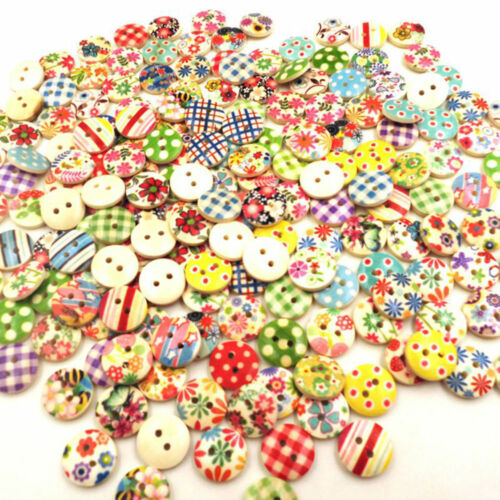 AC/_ 100pcs 15mm Mixed Round Pattern 2 Holes Wood Buttons Sewing Scrapbooking Cha