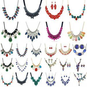 Women-Crystal-Chunky-Pendant-Statement-Choker-Bib-Necklace-Chain-Fashion-Jewelry