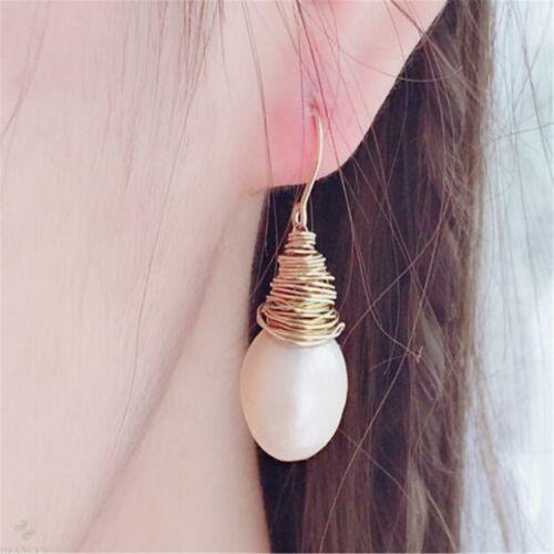 White Baroque Pearl Earrings Gold Ear Drop Dangle AAA Irregular Accessories
