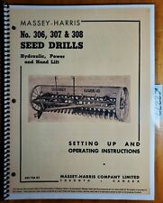 Massey Harris 306 307 308 Seed Drill Setting Up Inst Amp Operating Manual 853