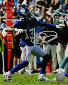 Odell-Beckham-Autographed-New-York-8x10-Passing-PF-Vertical-Photo-JSA-W-Auth