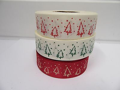 2 O 20 Metri 25mm Albero Di Natale Grosgrain Ribbon Xmas Roll Craft Uk Iva Reg-